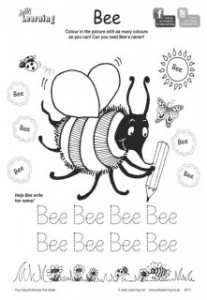 Jolly Phonics Bee Colouring Sheet